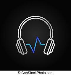青, 音, 現代, ヘッドホン, 波, ベクトル, 銀, アイコン