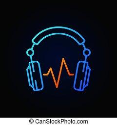 青, 音, dj, ヘッドホン, 波, ベクトル, 線, アイコン