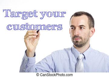 青, 顧客, ターゲット, テキスト, -, 若い, 表面, 執筆, ビジネスマン, あなたの, 透明