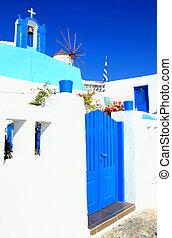 青, 風車, タワー, 鐘, oia, santorini, 村, greece., 白