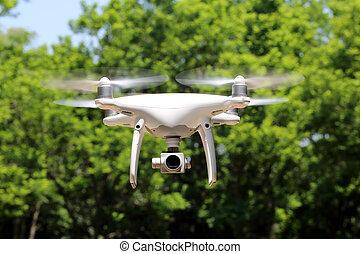 青, 飛行, 空, 空気, 無人機, 森林