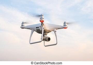 青, 飛行, 空, 背景, 無人機