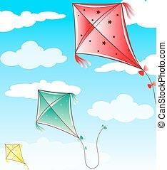 青, 飛行, 空, 3, 凧