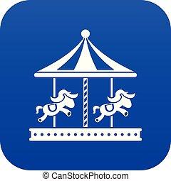青, 馬の乗車, 陽気, デジタル, 行きなさい, ラウンド, アイコン