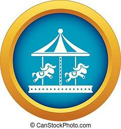青, 馬の乗車, 隔離された, ベクトル, 丸い陽気な碁, アイコン