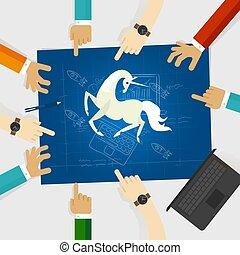 青, 馬, のまわり, 指すこと, スタートアップ, 手, スケッチ, 技術, 一角獣, 印刷, 白, 会社, 図画