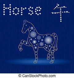 青, 馬, モチーフ, 冬, 中国語, 印, 黄道帯