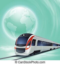 青, 高速, 概念, globe., 列車, 背景