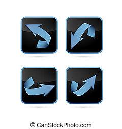 青, 黒, 抽象的, セット, 矢