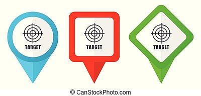 青, 10, セット, 背景, カラフルである, 編集, ポインター, 隔離された, マーカー, eps, icons., ベクトル, 緑, 位置, 容易である, ターゲット, 白い赤