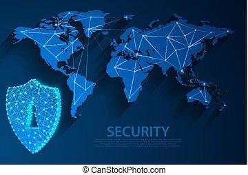 青, 10, ネットワーク, イラスト, 背景, eps, 地図, ベクトル, ファイル, 世界, セキュリティー, 技術, アイコン