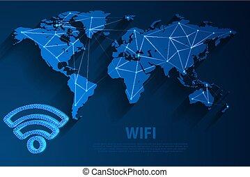青, 10, ネットワーク, イラスト, wifi, 背景, eps, 地図, ベクトル, ファイル, 世界, 技術