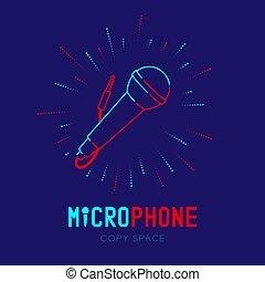 青, 10, マイクロフォン, 半径, アウトライン, テキスト, フレーム, スペース, 隔離された, イラスト, eps, ダッシュ, ストローク, ベクトル, デザイン, 背景, 暗い, ロゴ, 線, コピー, アイコン