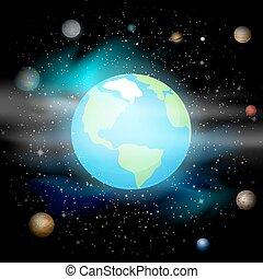 青, 10, universe., スペース, system., eps, に対して, 惑星, バックグラウンド。, ベクトル, イラスト, 太陽, 地球