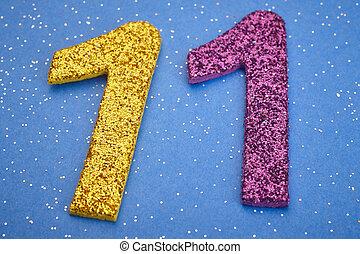 青, 11, 紫色, 上に, 数, 黄色, 記念日, バックグラウンド。, 色