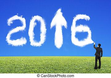 青, 2016, 空, スプレーをかける, 形, ビジネスマン, 白, 草, 雲