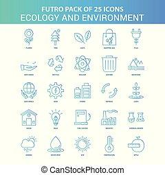 青, 25, エコロジー, enviroment, 緑, futuro, アイコン, パック