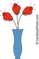 青, 3, イラスト, つぼ, ベクトル, 背景, 白い花, 赤