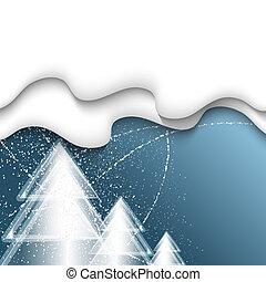 青, 3, 木, 雪, ベクトル, 背景, 落ちる, クリスマス