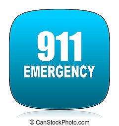 青, 911, 数, 緊急事態, アイコン