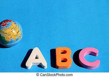 青, abc, 手紙, スペース, アルファベット, 地球, text., language., beginners., バックグラウンド。, 勉強, 英語, 小さい, 外国である, 空, 最初に