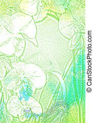 青, background:, 抽象的, /, パターン, 緑, textured, 花, 白, 背景