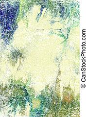 青, background:, 抽象的, 黄色, パターン, 緑, textured, 背景