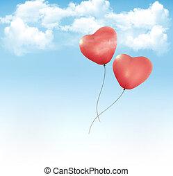 青, baloons, 心の形をしている, 空, バレンタイン, ベクトル, 背景, clouds.