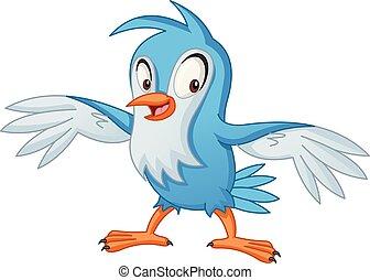 青, bird., 面白い, イラスト, ベクトル, animal., 漫画, 幸せ