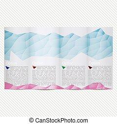 青, bright., カラフルなライト, 格子, 写真, polygonal, パンフレット, ベクトル, デザイン, a4, テンプレート, editable, polygons., 場所, trifold, proportionally, 大きさ