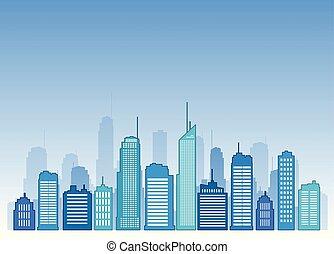 青, buidling, ベクトル, デザイン, 都市