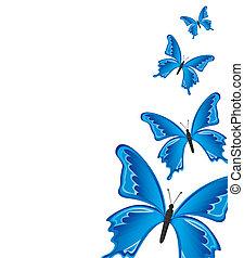 青, buterflies