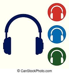 青, buttons., 概念, サービス, 色, コミュニケーション, 印。, オブジェクト, 隔離された, イラスト, ヘッドホン, バックグラウンド。, セット, ベクトル, 聞くこと, operator., 音楽, 白い円, イヤホーン, アイコン