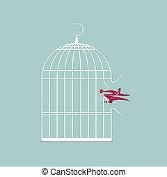 青, cage., 隔離された, 脱出する, バックグラウンド。, ビジネスマン