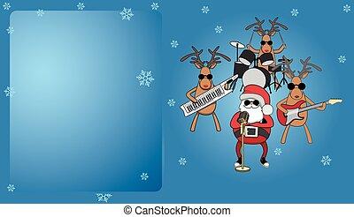 青, card., トナカイ, 音楽家, santa, クリスマス
