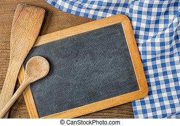 青, checkered, 木製のスプーン, 黒板, テーブルクロス