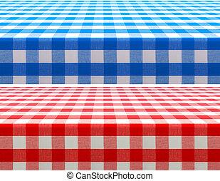 青, checkered, 表面, 見通し, カバーされた, テーブル, テーブルクロス, 赤, 光景