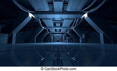 青, corridor.3d, sci, 抽象的, rendering., デザイン, 内部, fi, 未来派