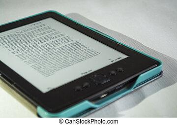 青, e-book., ポータブル, technology., text., 現代, カバー, gadget., color., バックグラウンド。, 印刷される, 英語, 白