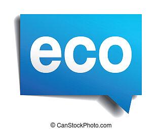 青, eco, 隔離された, 現実的, ペーパー, スピーチ, 白, 泡, 3d