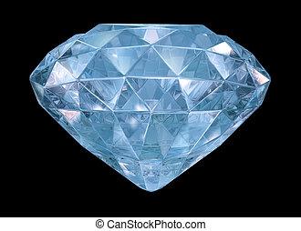 青, edges., ダイヤモンド, 柔らかい, 3d