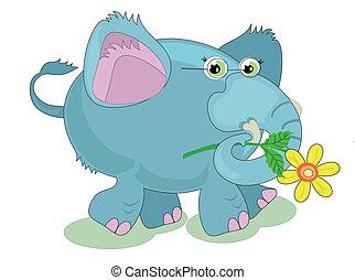 青, elefant