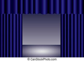 青, eps10, ステージ, カーテン, 劇場, スポットライト
