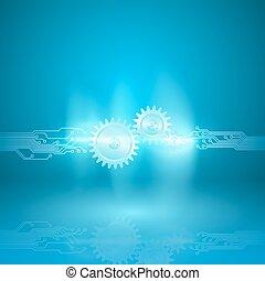 青, eps10, 回路, 伝達, 抽象的, 手ざわり, 流れ, 板, 背景, ギヤ, arc., vector.