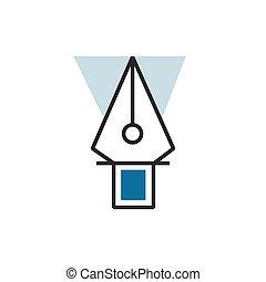 青, eps10, 道具, ペン, ベクトル, アイコン