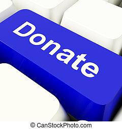 青, fundraising, 提示, コンピュータのキー, 寄付しなさい, 慈善