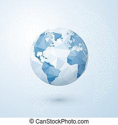 青, globe., 地球, map., 隔離された, イラスト, 創造的, polygonal, ベクトル, 背景, 世界, 地球, concept.