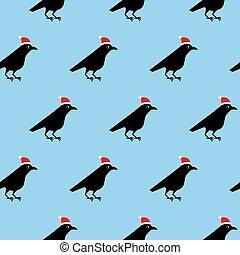 青, hats., pattern., seamless, イラスト, からす, ベクトル, 黒い背景, クリスマス