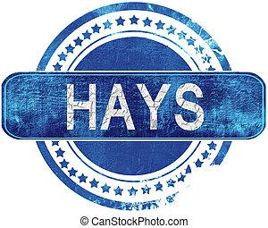 青, hays, グランジ, 隔離された, stamp., white.