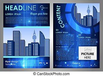 青, hi-tech, レポート, フライヤ, 企業である, 年報, カバー, ビジネス, バックグラウンド。, ベクトル, デザイン, パンフレット, プレゼンテーション